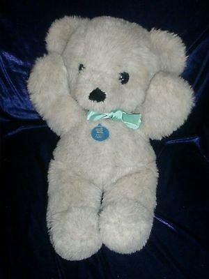 Dakin 1979 Cuddles Teddy Bear Tan Cream Fur With Black Flecks Green Bow 19""