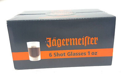 """Jagermeister Set Of 6 """"1 Oz"""". Frosted Shot Glasses New With Boz Free Shipping"""