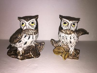 Set of 2 Vintage Homco Ceramic Owl Figurines on Tree Stumps Mint