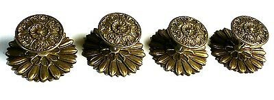 Old Vtg Solid Brass? Floral Design Two Piece Closet Door Drawer Pull Lot Of 4