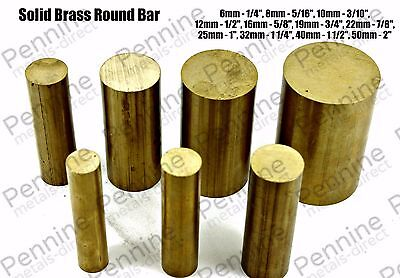 Solid Brass ROUND Bar Rod - 11 Diameters & 7 Different Lengths Available