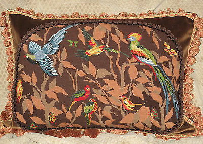 Charming Vintage Hand Stitched Wool Needlepoint Tapestry Pillow  Of Birds