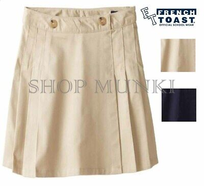 French Toast Girls School Uniform Peached Twill Pleated Skort-Adjustable Waist
