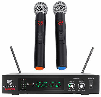 Rockville RWM70U Dual UHF All Metal Handheld Wireless Microphone System w/LCD