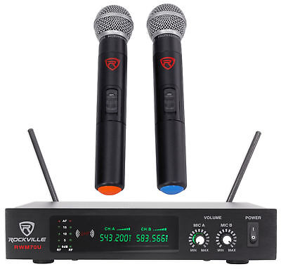 Rockville RWM70U Dual UHF Handheld Wireless Microphone System w/LCD