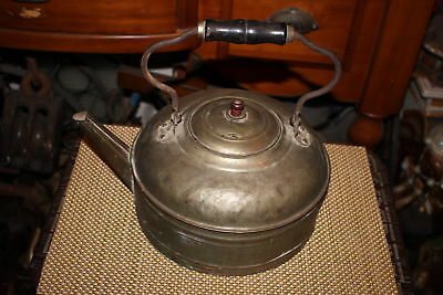 Antique Copper Brass Metal Tea Kettle-Americana Country Decor-Large Teapot