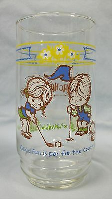 """Urchins ~ Coca-Cola drinking glass... """"Good fun is par the course"""""""