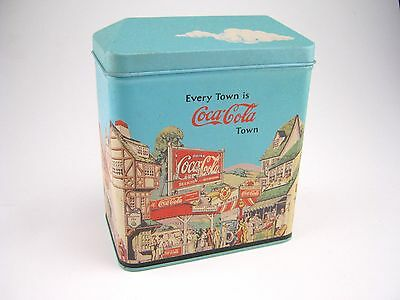 COKE Coca-Cola Town Tin Box 1994 Blue Sky with 1920s Cityscape Collectible RARE