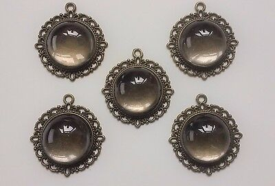 5 Ornate Antique Bronze Pendant Settings & 20mm High Domed Glass Cabochons