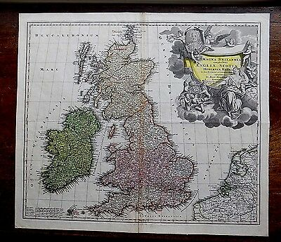 c1720 Homann Great Britain England Scotland Ireland Wales Old Antique Map UK vgc