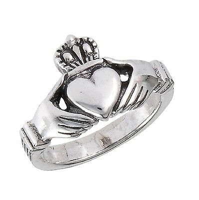 .925 Sterling Silver Traditional Claddagh Celtic Ring 5 New