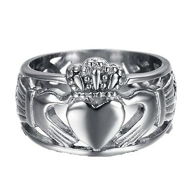 HAMANY Jewelry Men's Stainless Steel Claddagh Ring with Celtic Knot Eternity ...