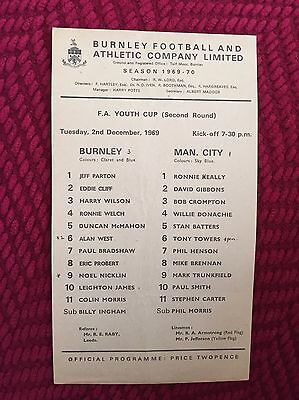 Burnley Youth v Manchester City Youth (FA Youth Cup) 1969/70 Programme
