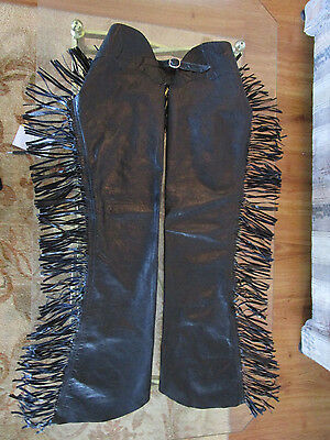 Womens Small/youth Large Black Fringe Western Leather Chaps Rodeo/biker