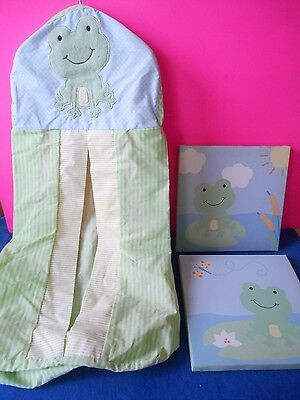 Diaper Stacker Hanger green & yellow Frog Themed & 2 Pictures Wall Hangings