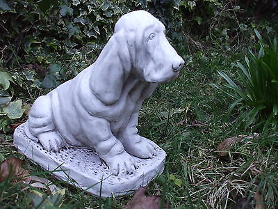 Large Sitting Basset Hound Dogs  Stone  Sculpture Statue