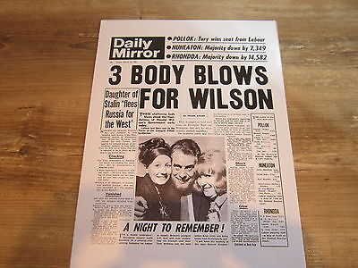 Daily Mirror Newspaper Front Page Reprint 10/3/1967 birthday gift