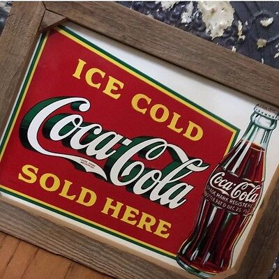 "Vintage Coca Cola Advertising Sign 21""x 16"" Barn Wood Framed Country Shabby Chic"
