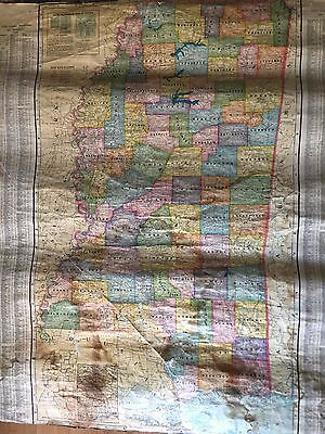Large Antique Wall Map of Mississippi - 1950s Mid-Century