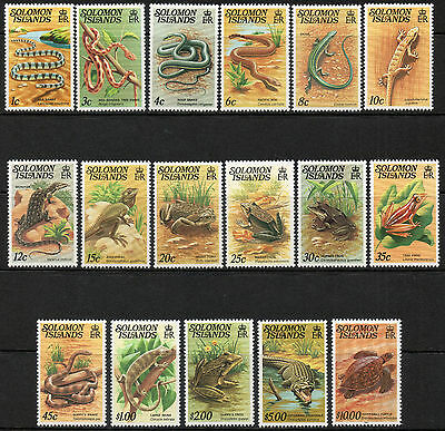 Solomon Islands 1979-82 QEII Reptiles set of mint stamps value to $10
