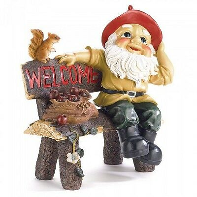 Gnome Figurine on a Bench Yard Statue Ornament 2 Styles Mixed NIB