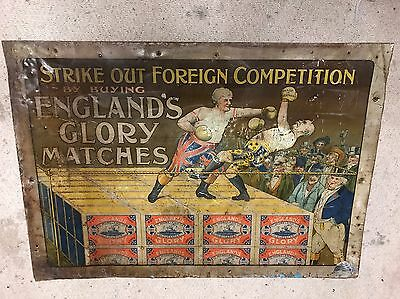 ENGLANDS GLORY MATCHES Advertising TIN not Enamel Sign 1900s