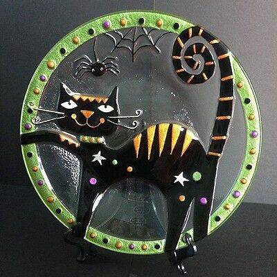 Silvestri Black Cat Plate Hand Blown Glass Fusion Halloween NEW IN BOX