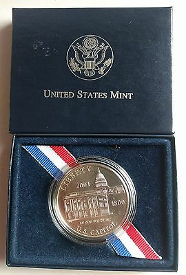 2001 Us Capitol 90% Silver Commemorative One 1 Dollar Coin Uncirculated