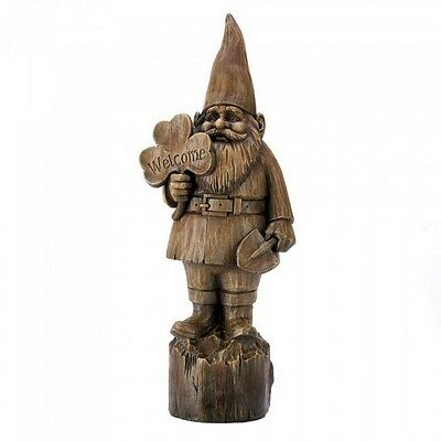 Welcome Gnome Statue Figurine Yard Ornament & Stepping Stone 2PC Mixed Lot NIB