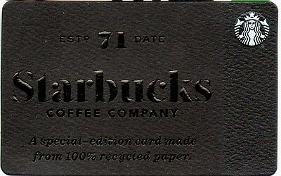STARBUCKS GIFT CARD No Value! BLACK RECYCLED PAPER 6134