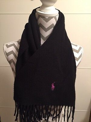NEW Men's Ralph Lauren Black Wool Scarf RRP £45