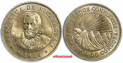 Nicaragua 1965 50 Centavos Mintage-600,000 SCARCE 1 YEAR TYPE KM# 19.2