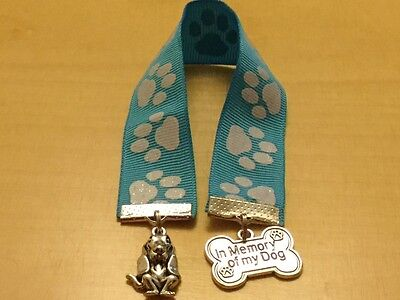IN Memory of My Dog Basset Hound Ribbon Bookmark Blue White&Silver Paw Print