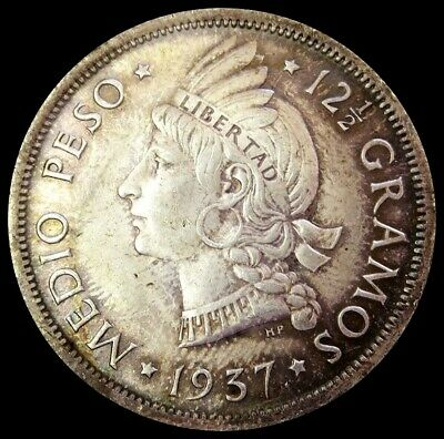 1937 Silver Dominican Republic 1/2 Peso Native Princess Coin Choice Uncirculated