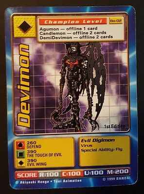 DEVIMON - Bo-02 1ST EDITION Champion Level Digimon card - NM