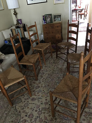 shaker style ladder back cane seat chairs antique early american (6)