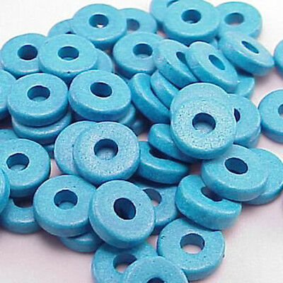8mm Greek Disk Beads Large Hole Turquoise G38 Disc Rondelle Spacer Large Hole