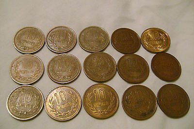 FOREIGN Japan (showa) 10 Yen Japanese -Lot of 15 coins