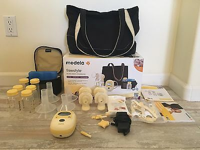 Medela Freestyle Double Electric Breast Pump + Bottles Extra Parts - EUC!