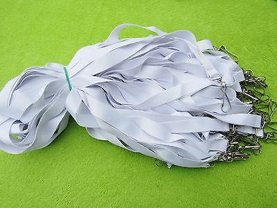 50 x WHITE BLANK LANYARD, NECK STRAP FOR SUBLIMATION WITH METAL DOG CLIP,20mm UK