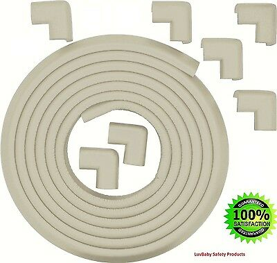 Table Edge Corner Protector Bumper Guard Rubber 18ft Long with 8 Corner C... NEW