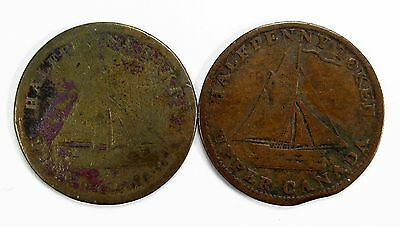Lot of 2 1820 Upper Canada Commercial Change 1/2 Half Penny Tokens #99196 R