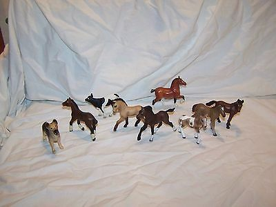 Lot of 9 Schleich Safari Ltd Breyer Baby Horse Foal Dog Cow Calf Farm Animals