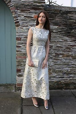 TRUE VINTAGE MALCOLM STARR 1940s BEADED AND RHINESTONE BROCADE EVENING DRESS 6/8