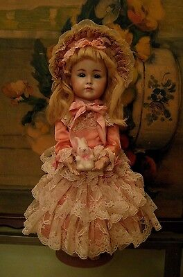 "Antique German Bisque Head Doll Composition Body 16"" Reproduction Porcelain Doll"