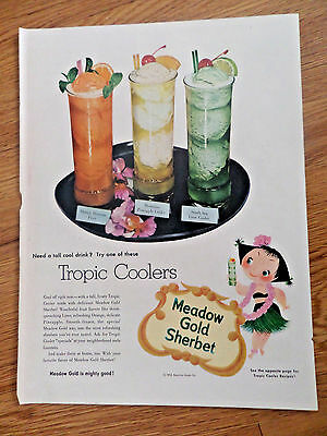 1953 Meadow Gold Sherbet ice Cream Ad  Tropic Coolers
