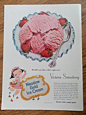 1953 Meadow Gold Ice Cream Ad Victoria Strawberry 1953 Swiss Watchmakers Ad