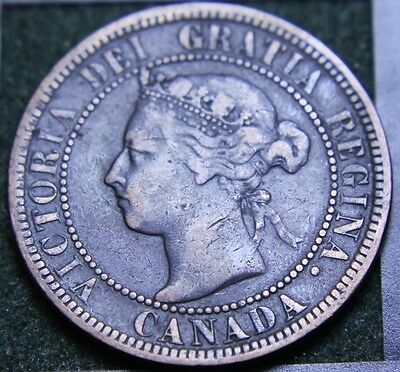 #594# 1892 Canadian Coins Large Cent Queen Victoria