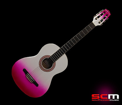 Gypsy Rose 7/8 Classical Guitar with Gig Bag, Stickers & DVD White Pink Fade
