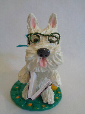 """Hand Sculpted~Westie West Highland Terrier """"reading Book"""" Story Time Figurine"""